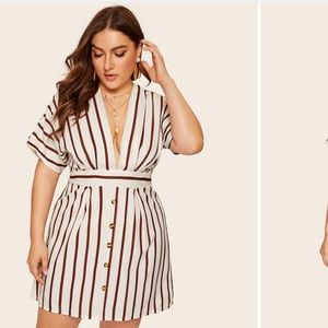 Plus Deep V-neck Striped Dress 👗